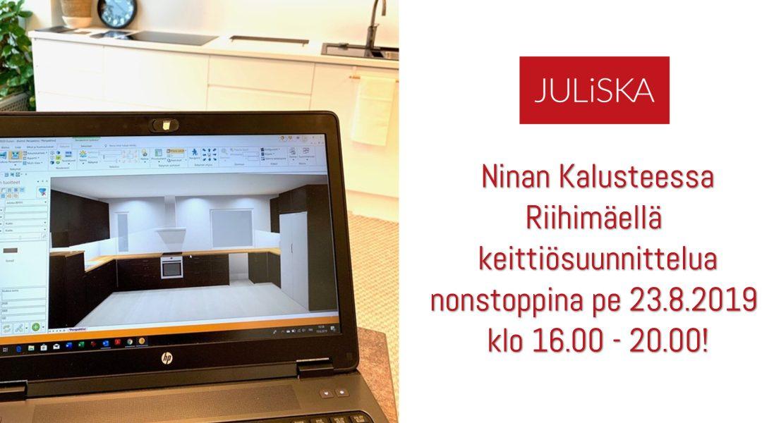 Ninan Kaluste ja Riihimäen Taiteiden Yö järjestävät nonstop keittiösuunnittelua